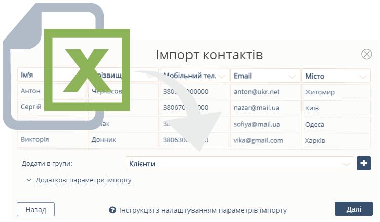 Імпорт контактів